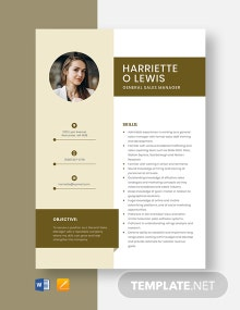 General Sales Manager Resume Template