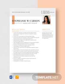 General Supply Specialist Resume Template