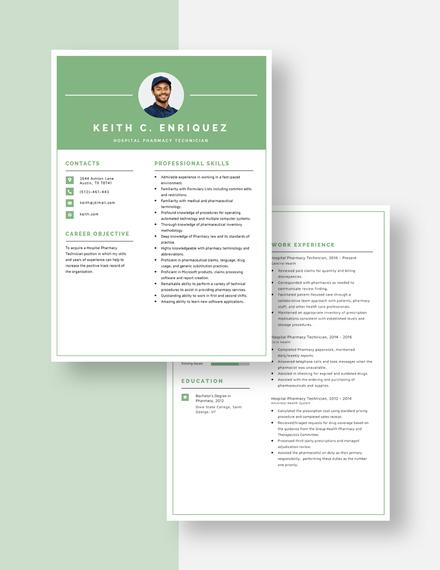 Hospital Pharmacy Technician Resume Download