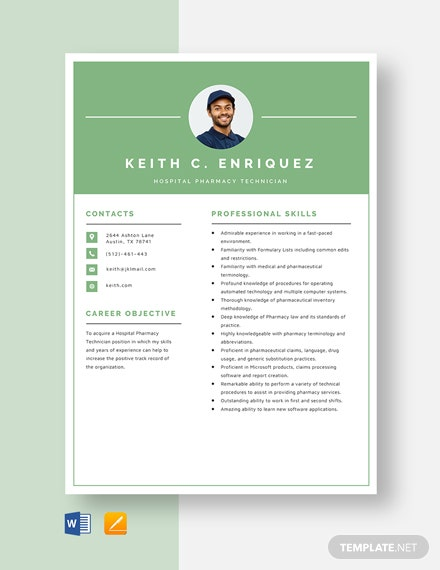 Hospital Pharmacy Technician Resume