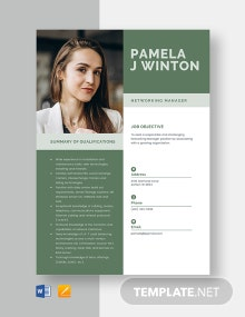 Networking Manager Resume Template
