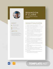 Photographic Process Worker Resume Template