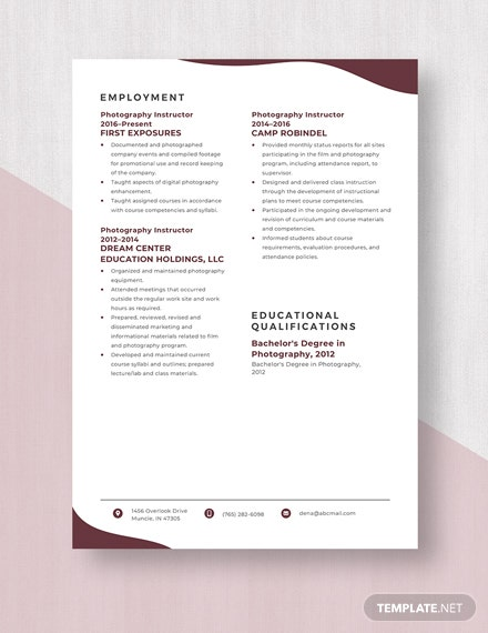 Photography Instructor Resume Template