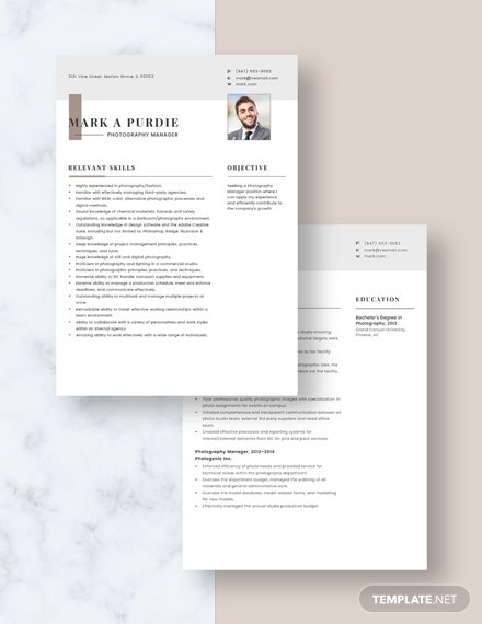 Photography Manager Resume Download