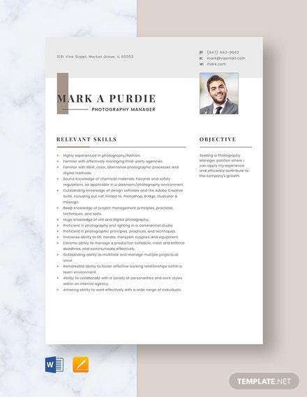 Photography Manager Resume