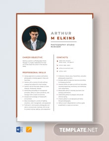 Photography Studio Manager Resume Template