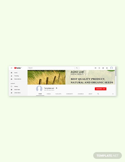 Free Agriculture YouTube Channel Template