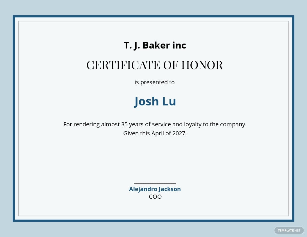 Honouring Certificate Template