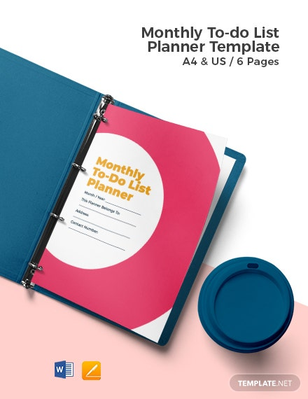 Monthly To Do List Planner Template