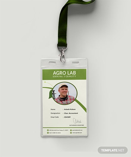 Agriculture Identity Card Template