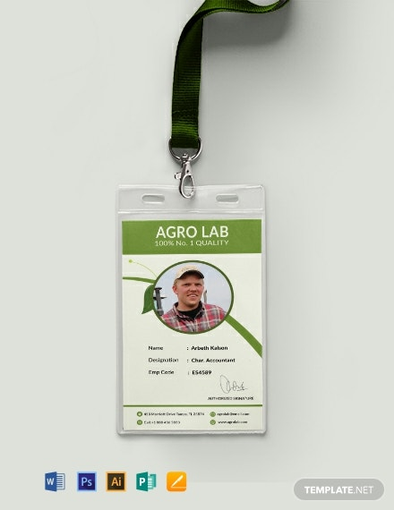 Free Agriculture Identity Card Template
