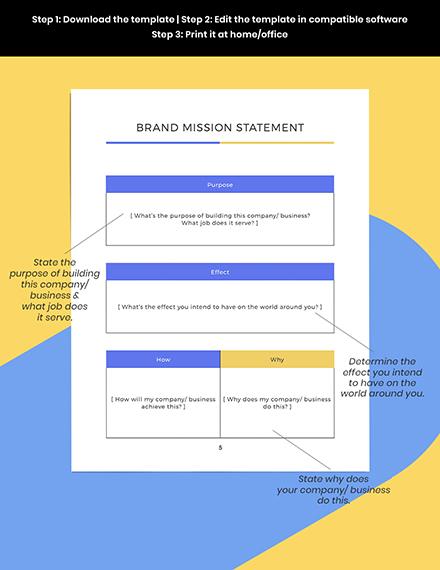 Branding Marketing Mission Statement Planner