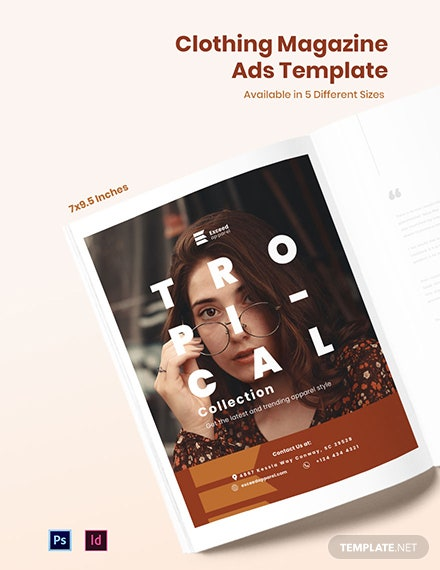 Free Clothing Magazine Ads Template