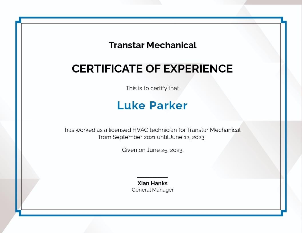 HVAC Experience Certificate Template