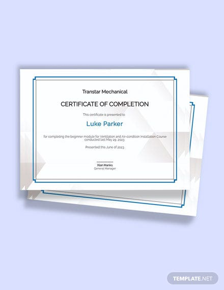 Free HVAC Experience Certificate Template