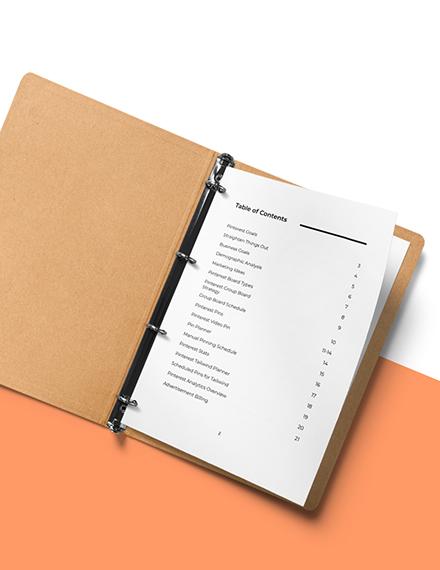 Pinterest Marketing Planner Template Sample