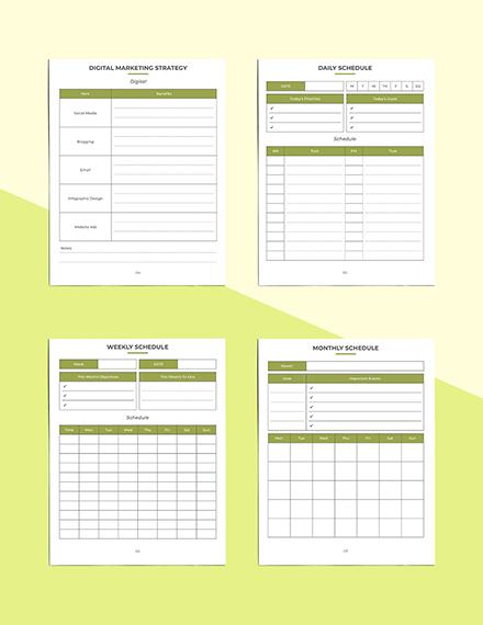 Etsy Marketing Planner Daily Schedule