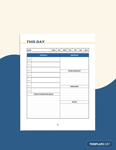 small business marketing Planner Format