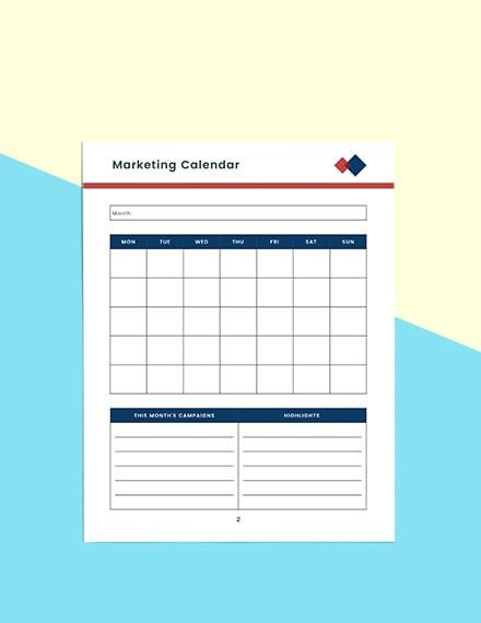 Monthly marketing Planner Sample