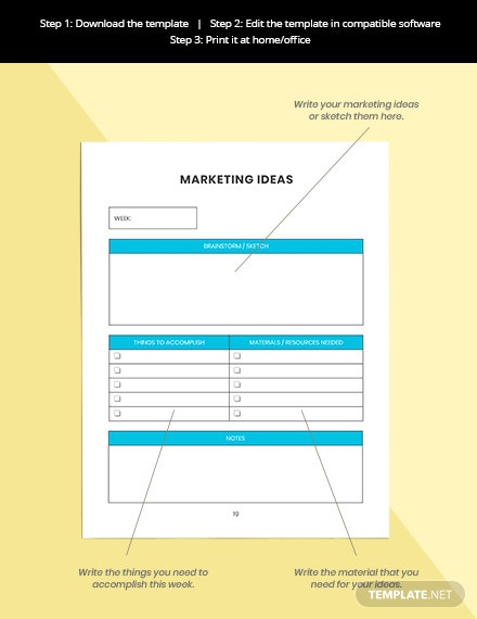Weekly marketing Planner Editable Marketing Ideas
