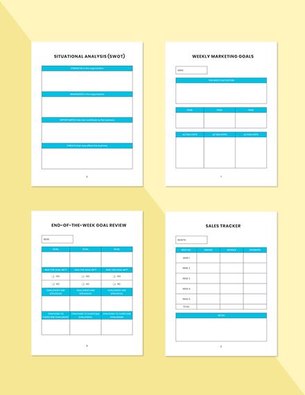 Weekly marketing Planner Printable Situational Analysis
