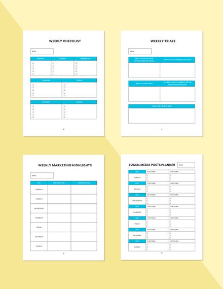 Weekly marketing Planner Sample Weekly Checklist