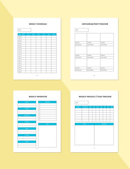 Weekly marketing Planner Schedule Weekly Schedule