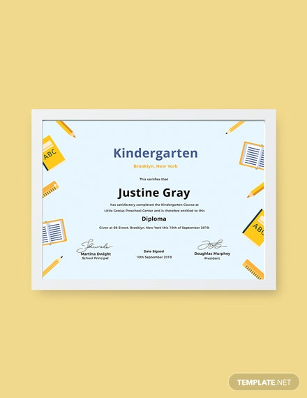 Free Kindergarten Diploma Certificate Template Download 200
