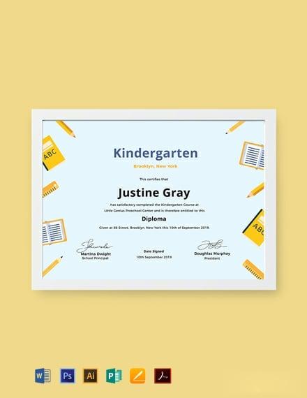 Free Kindergarten Diploma Certificate