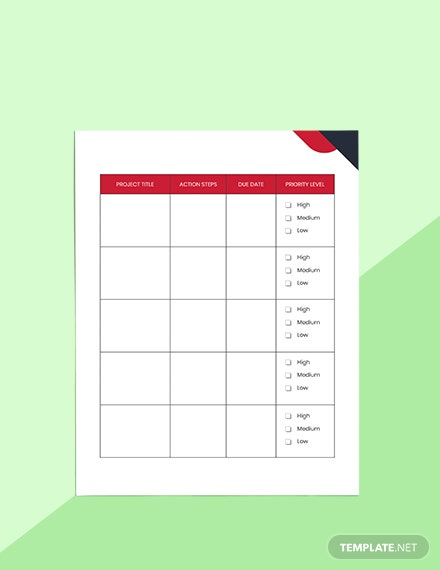 Productivity Project Planner Format