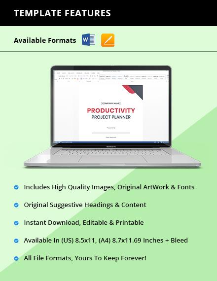Productivity Project Planner Instruction