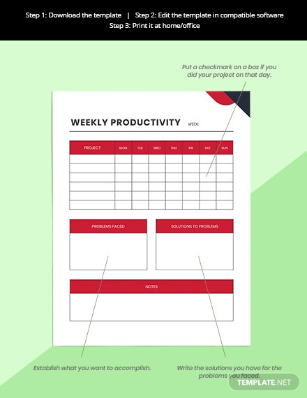 Productivity Project Planner Printable Instruction