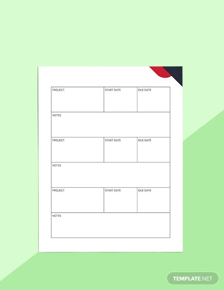 Productivity Project Planner Sample