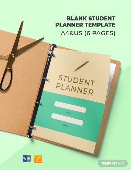 Free Blank Student Planner Template