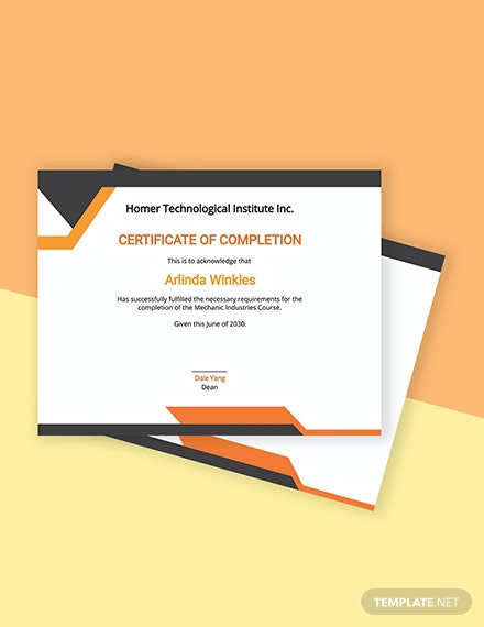 Free Mechanic Course Completion Certificate Template