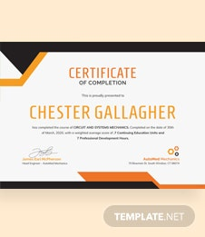 mechanic course completion certificate template