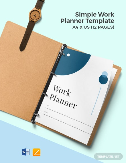 Free Simple Work Planner Template
