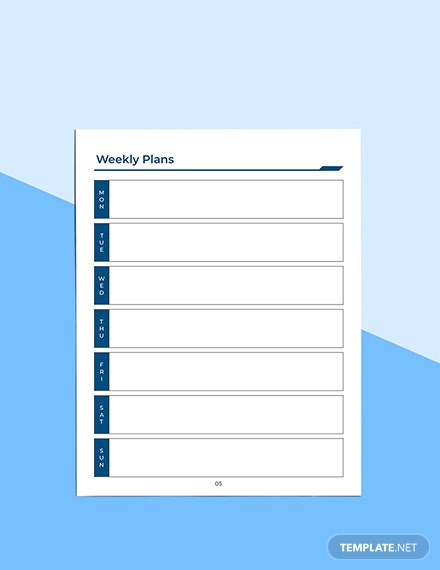 Printable Work Planner Example