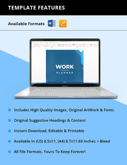 Printable Work Planner Instruction