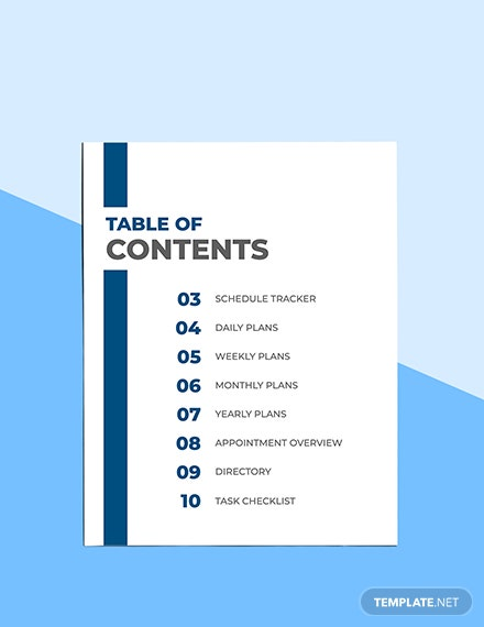 Printable Work Planner Sample