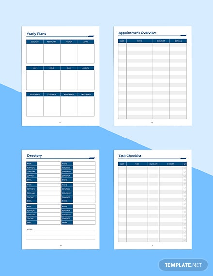 Printable Work Planner Yearly Plans