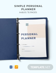Free Simple Personal Planner Template