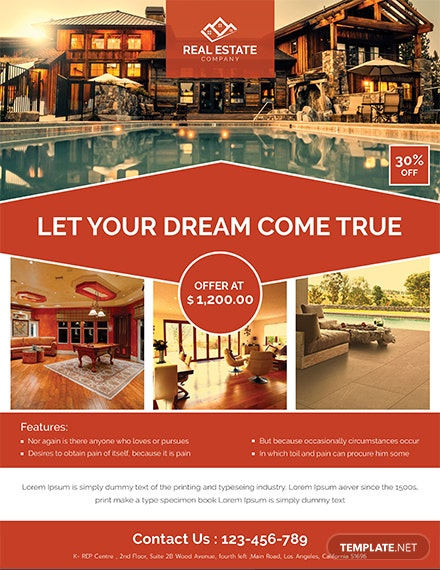 real estate red flyer template 1x
