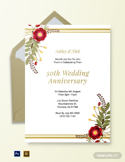 Free Printable 50th Wedding Anniversary Invitation Template
