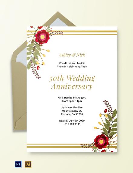 Free Printable 50th Wedding Anniversary Invitation Template