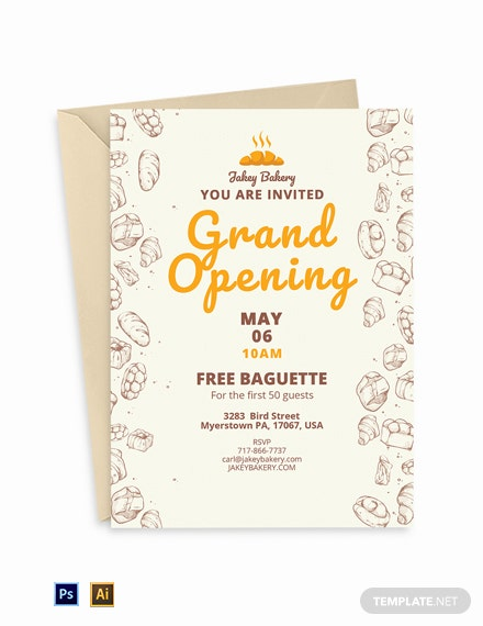 Bakery Opening Invitation Template