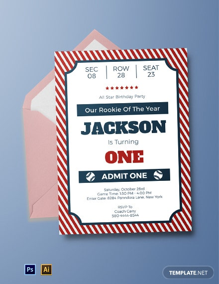 Baseball Ticket Birthday Invitation Template