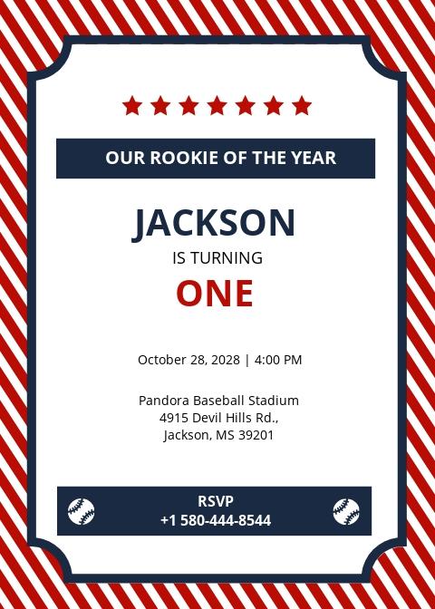 Baseball Ticket Birthday Invitation Template