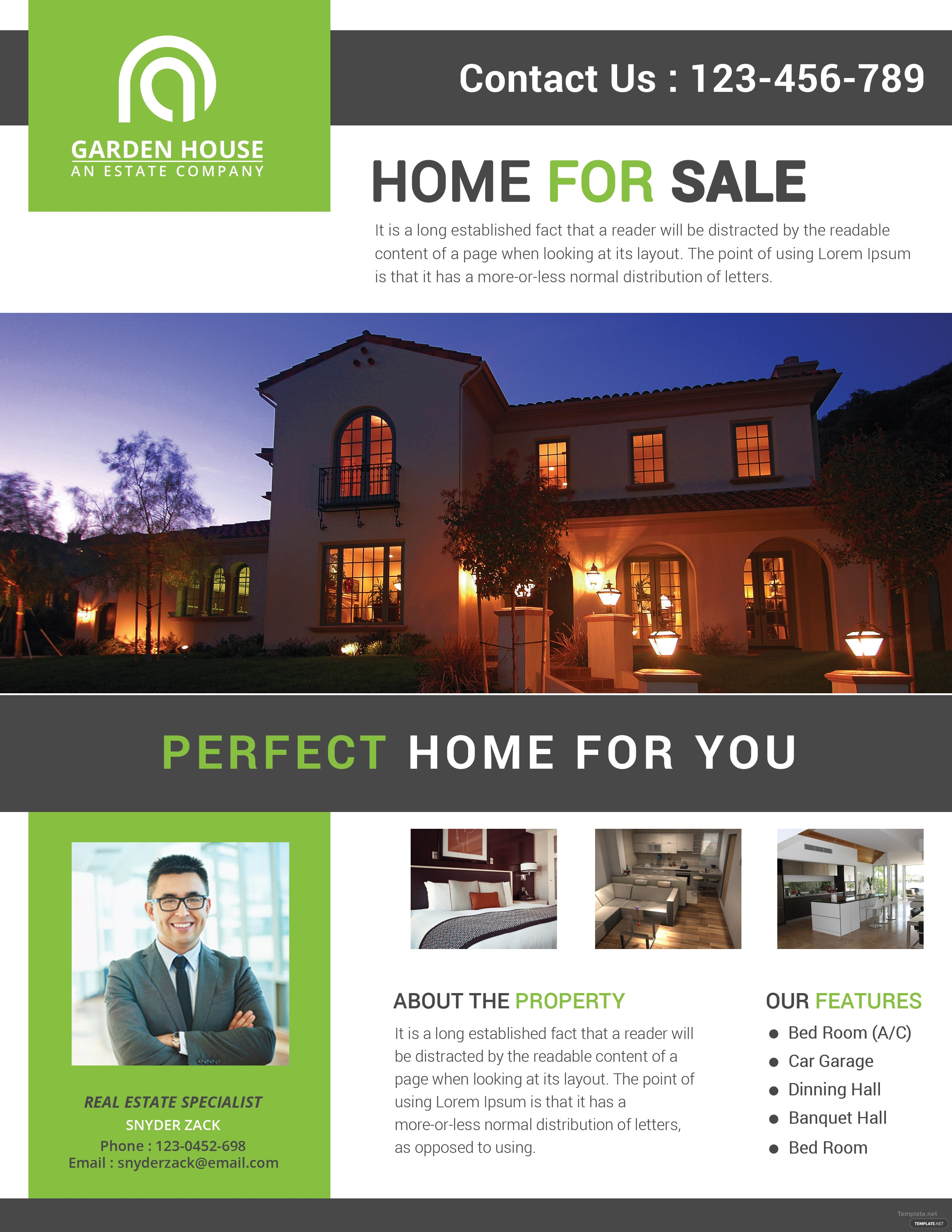 home sale real estate flyer template in adobe photoshop  illustrator  microsoft word  publisher