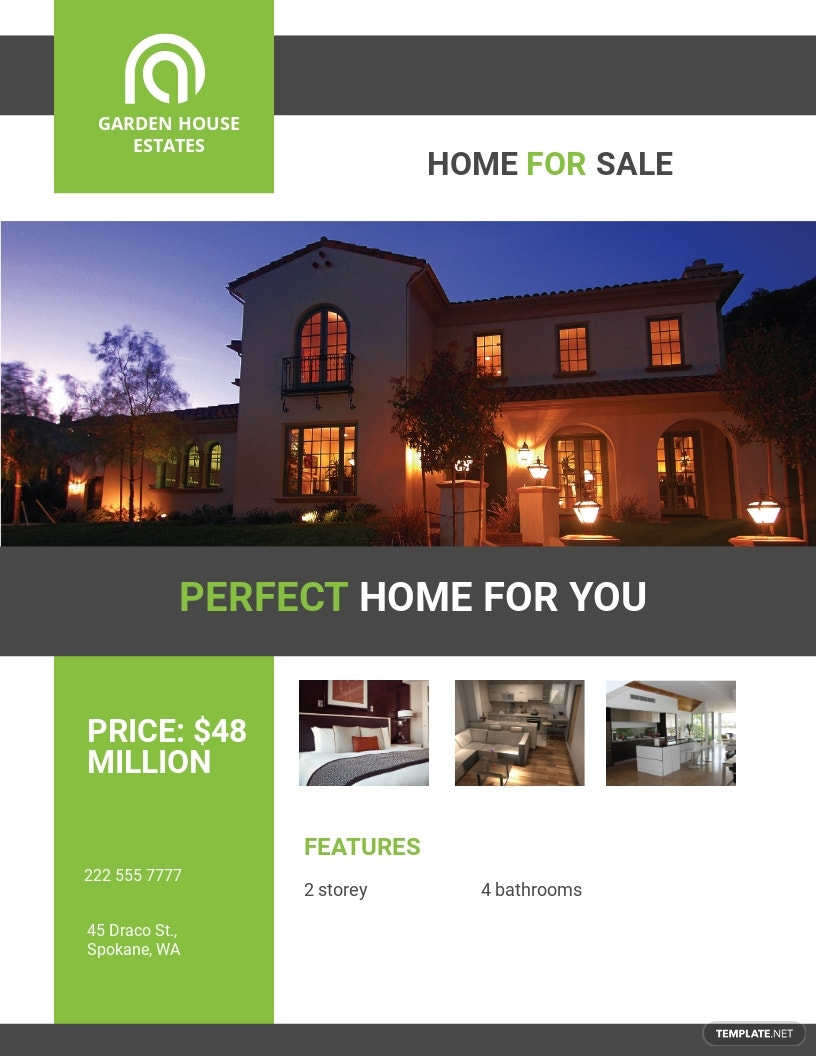 Home Sale Real Estate Flyer Template [Free JPG] - Illustrator, Word, Apple Pages, PSD, Publisher